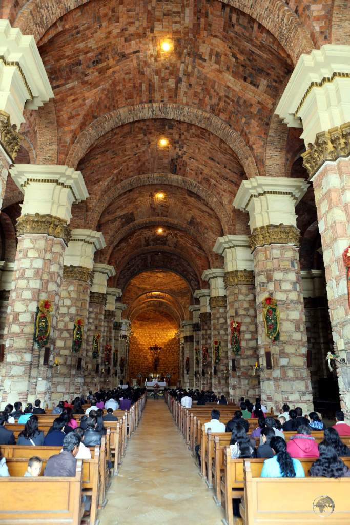 The interior of Zipaquirá cathedral, also known as the Cathedral of the Most Holy Trinity, which took 111 years to construct - from 1805 to 1916.