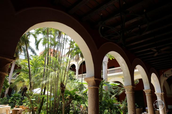 A courtyard in Cartagena old town, Colombia.
