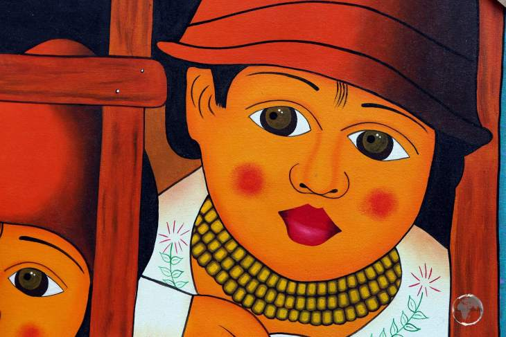 Artwork produced by local Otavaleño native Indians, on sale at the weekly craft market, in the northern Ecuadorian city of Otavalo.