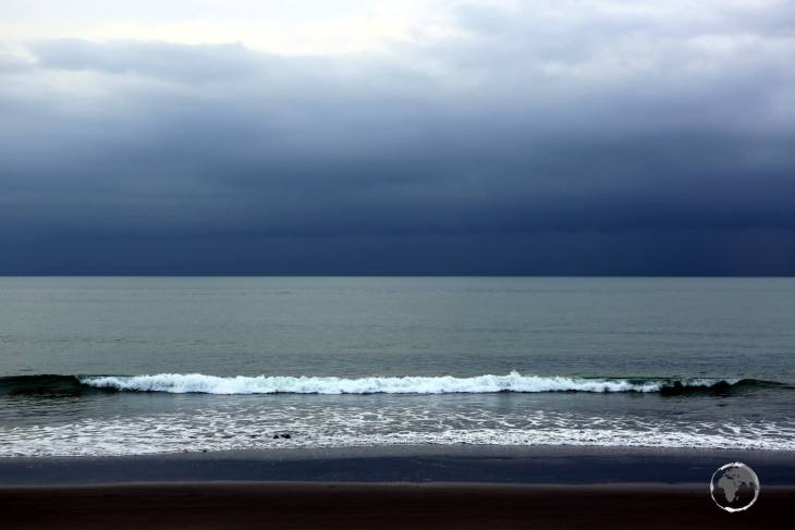 Storm clouds over the beach at Olón, a popular beachside town on the Pacific coast of Ecuador.