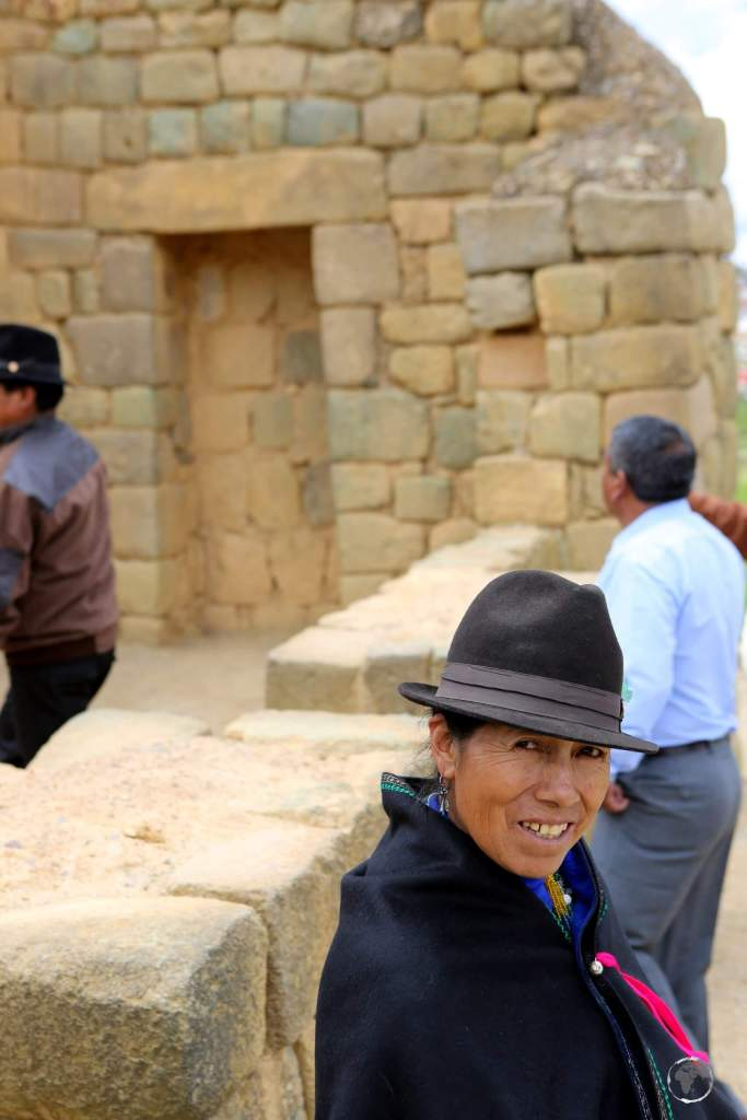 Local indigenous Indian tourists, visiting the ruined Inca complex at Ingapirca, north of Cuenca, Ecuador.