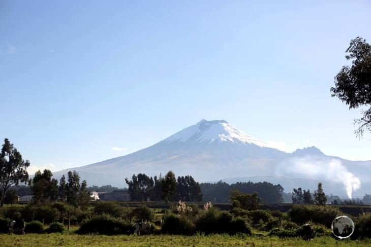 A view of the active Cotopaxi volcano (5,897 metres / 19,347 feet), which is located 50 km south of Quito.