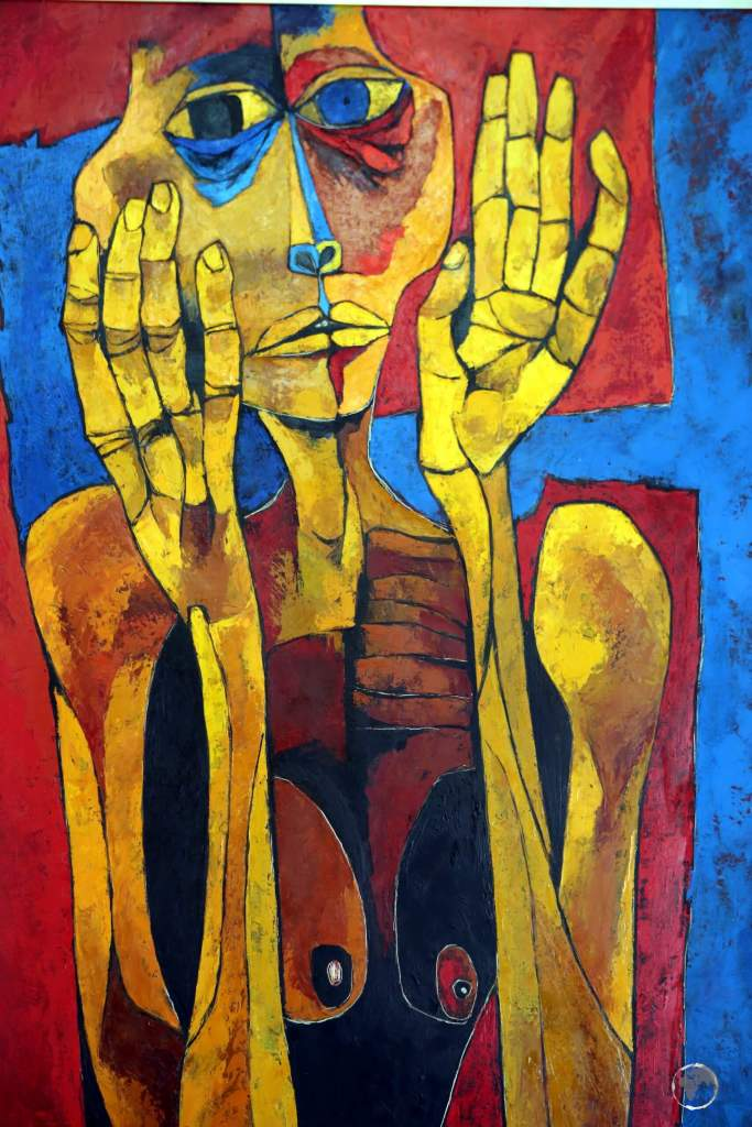 Painted by Guayasamín in 1994, 'Meditacion II' portrays an anxious and protective mother.