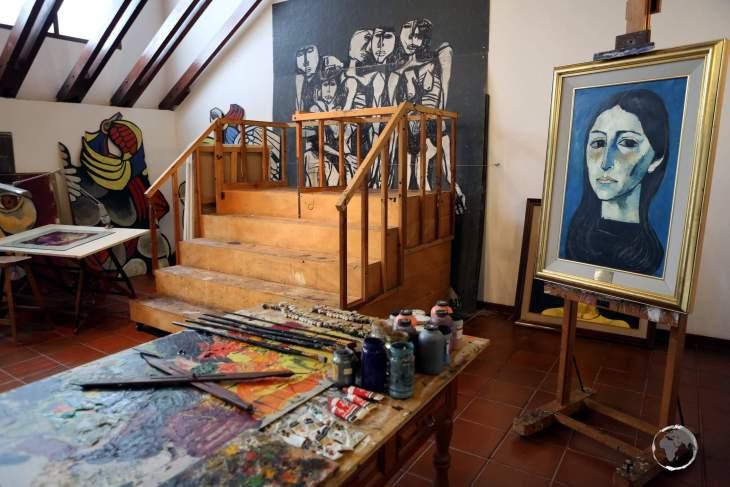 A view of Guayasamín's studio, inside his former home at the Casa Museo Guayasamín.