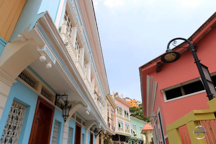 Colourfully restored houses line the narrow laneways of the old Santa Ana neighbourhood of Guayaquil.