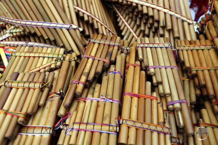 An integral part of native Indian music, handmade Pan flutes can be found throughout the indigenous artisan market in Otavalo, Ecuador.