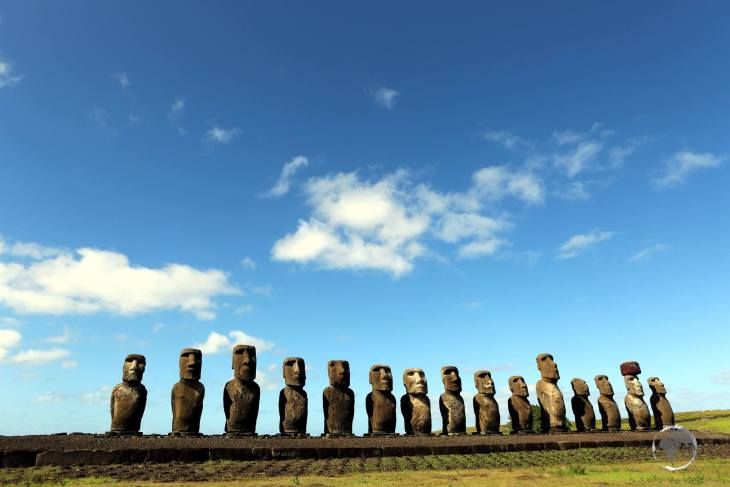 A view of the fifteen moai at Ahu Tongariki, the most photographed sight on Easter Island.