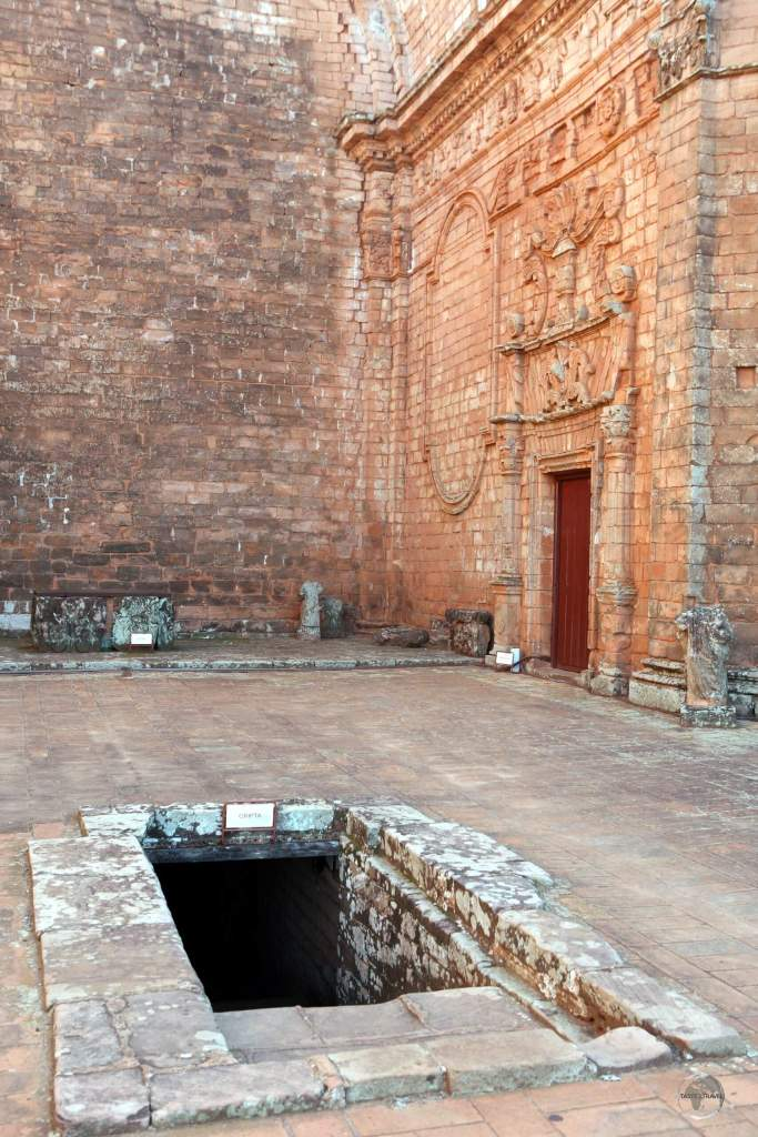A view of the main church, including the entrance to the crypt, at 'La Santísima Trinidad del Paraná' Jesuit mission in Paraguay.