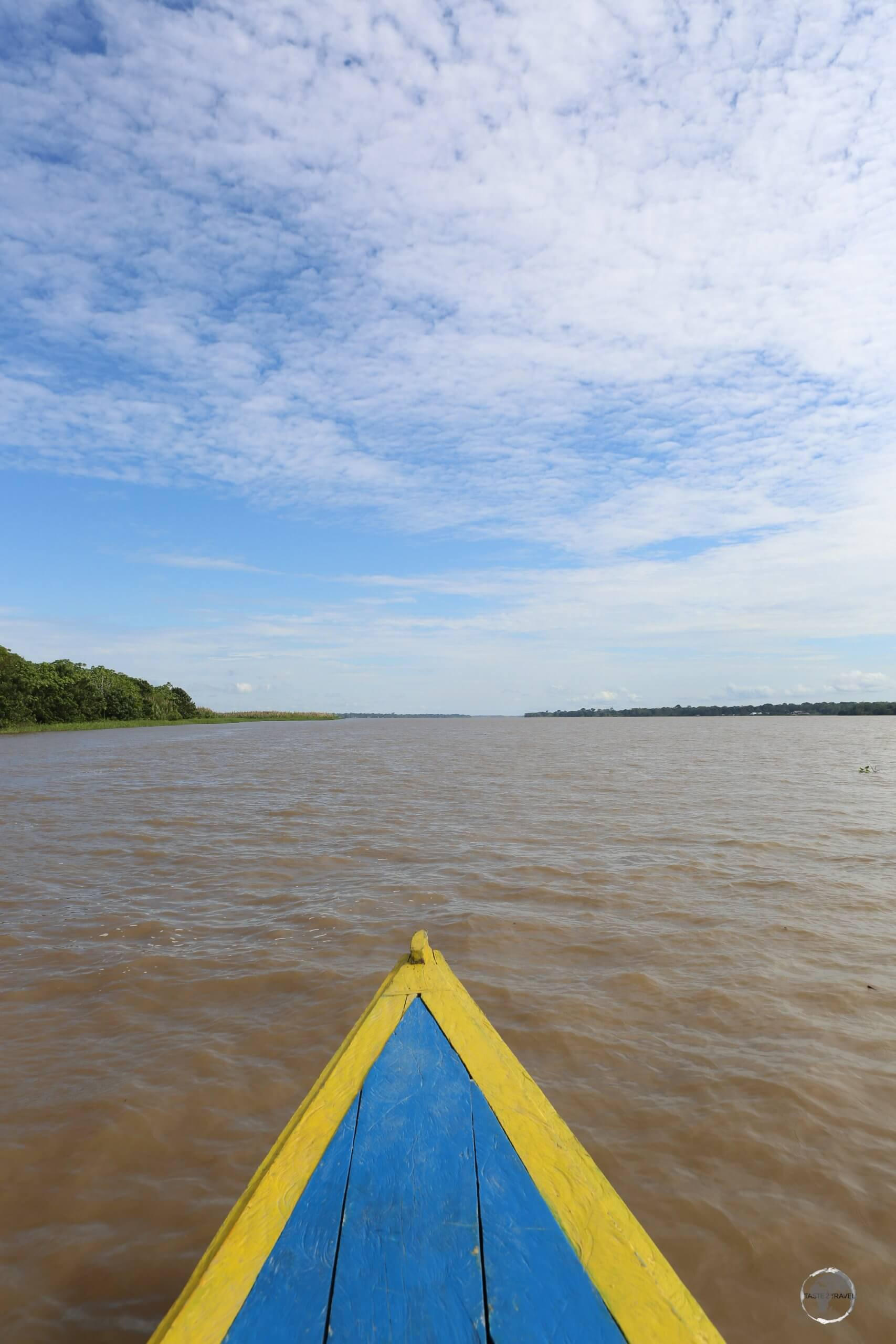 Travelling along the Amazon river in the Tres Fronteras region, with Peru on the left and Colombia on the right.