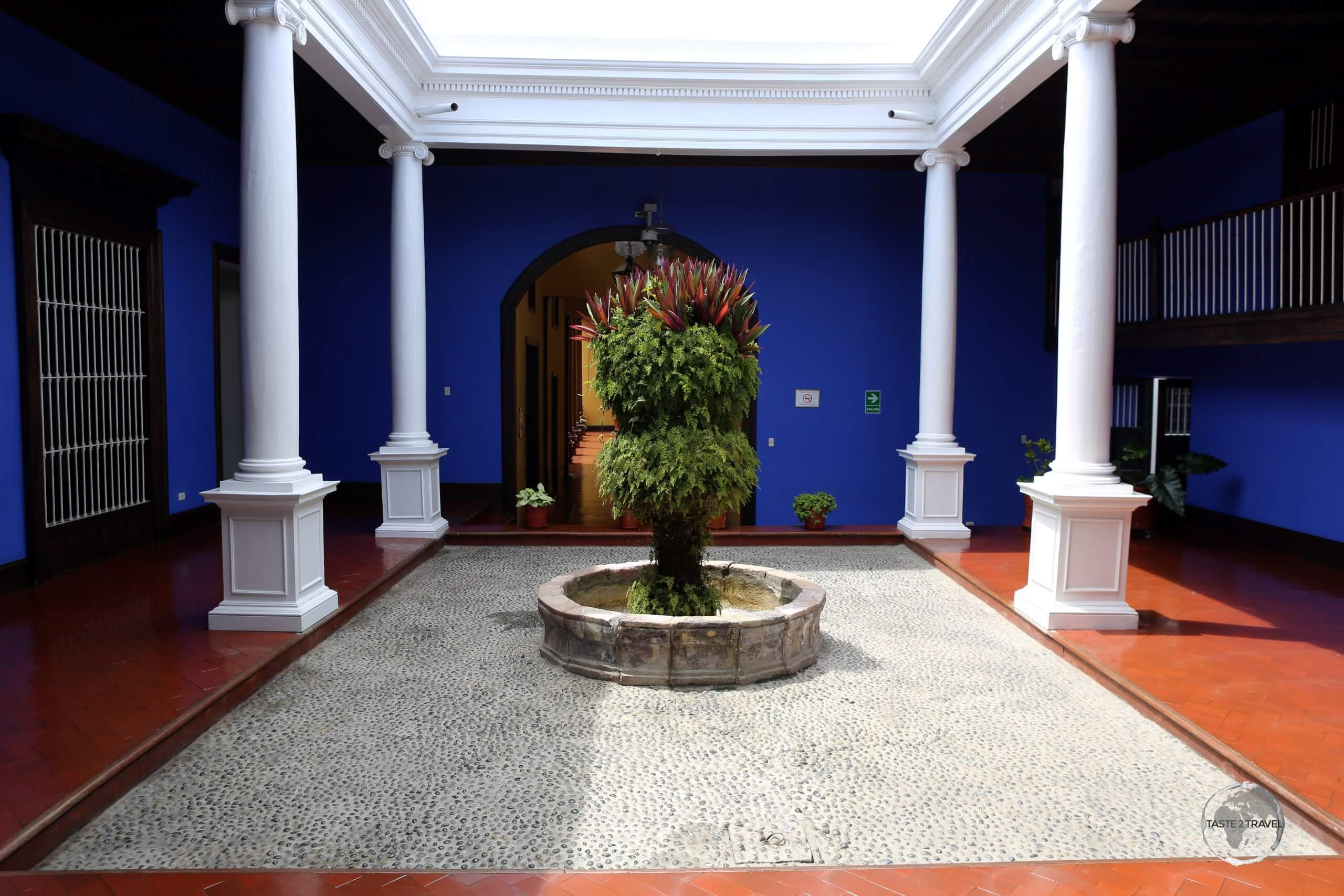 The courtyard of Casa Urquiaga, a neo-classical house which is now a museum which features gold ornaments of the Chimú culture, the the desk of Liberator Simon Bolivar.