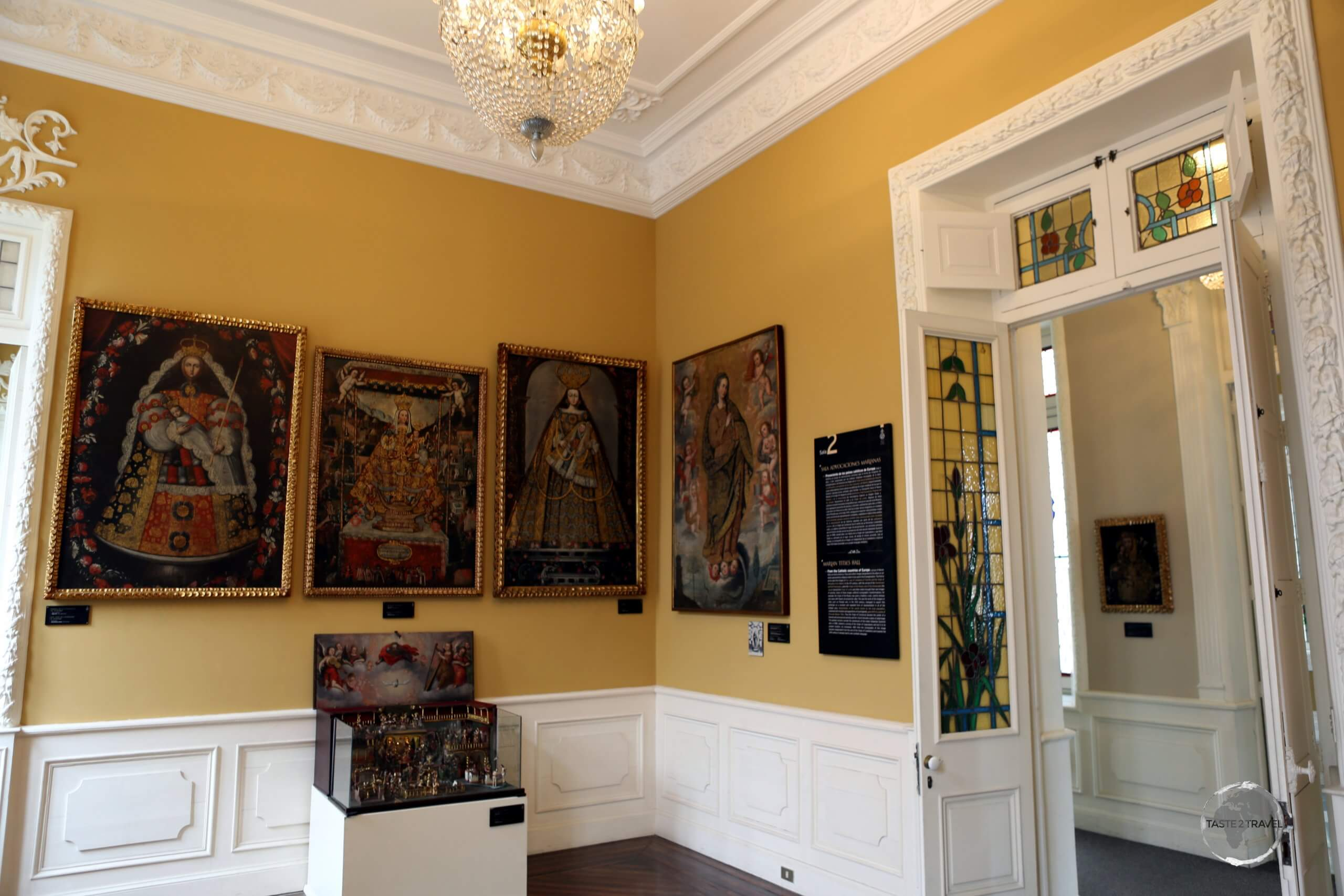 The 'Marian Devotion Room' at the 'Museo Pedro de Osma' in Lima, features different religious artworks of the Virgin Mary.