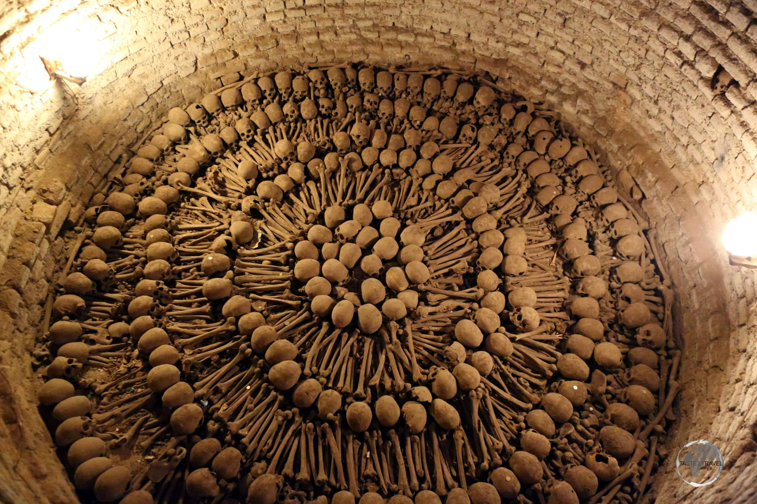 An ossuary in the catacombs of the 'Basílica y Convento de San Francisco' in Lima, the final resting place for an estimated 25,000 bodies.