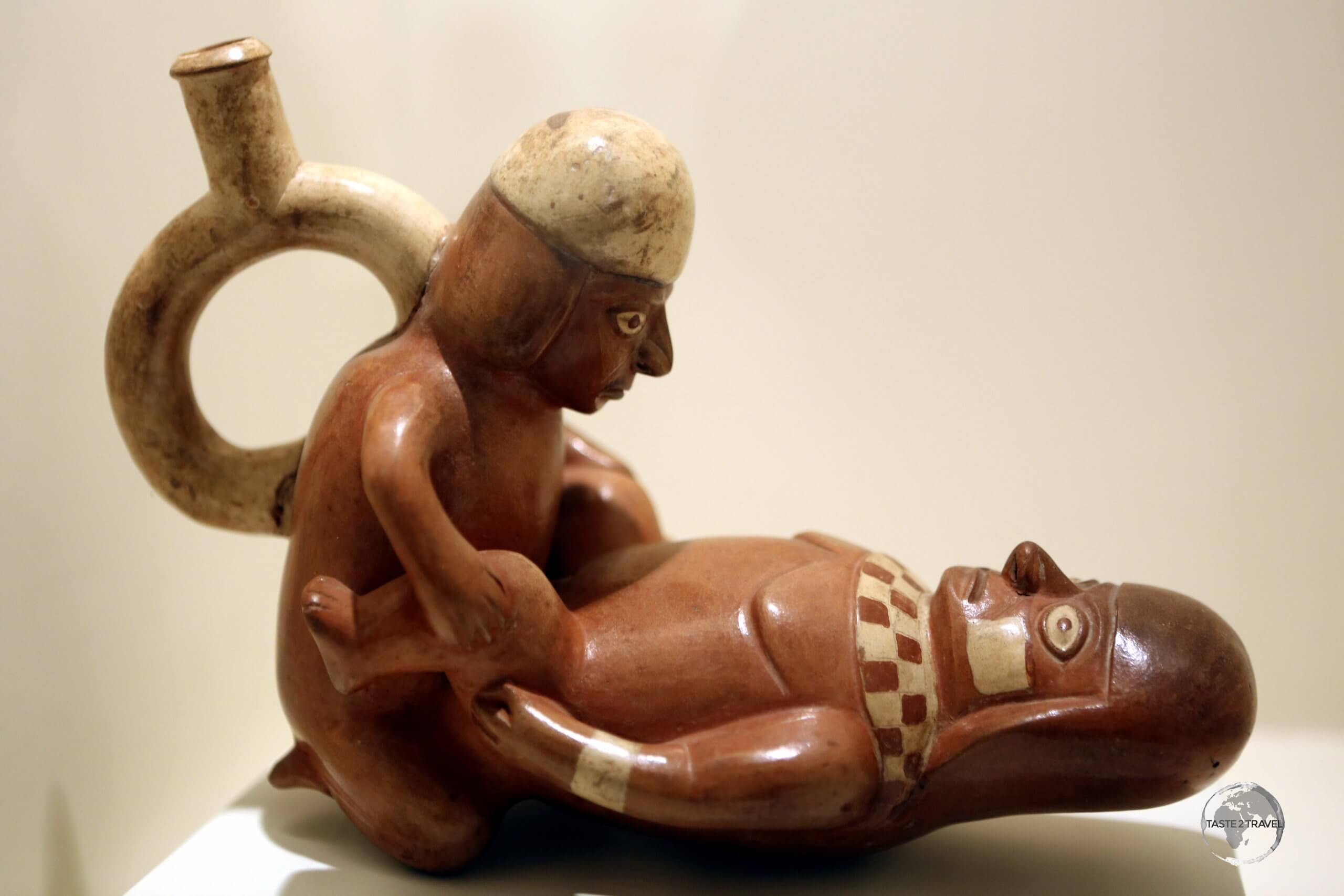 The gallery of pre-Columbian Erotic Pottery at Museo Larco in Lima, displays a selection of archaeological, objects found by Rafael Larco Hoyle in the 1960s.