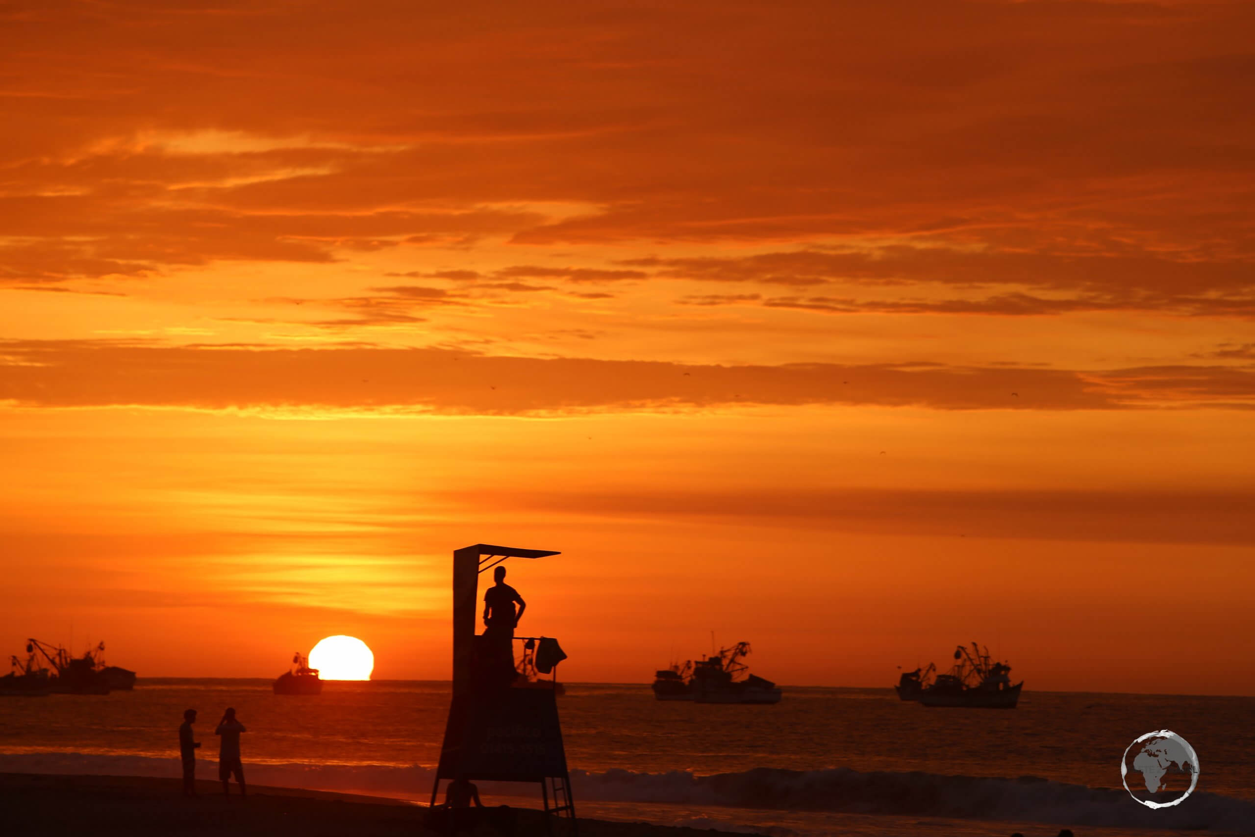 Sunset at Máncora, a resort town in the Piura Region, on Peru's northwest coast which is known for sandy Máncora beach, whose large waves attract surfers.