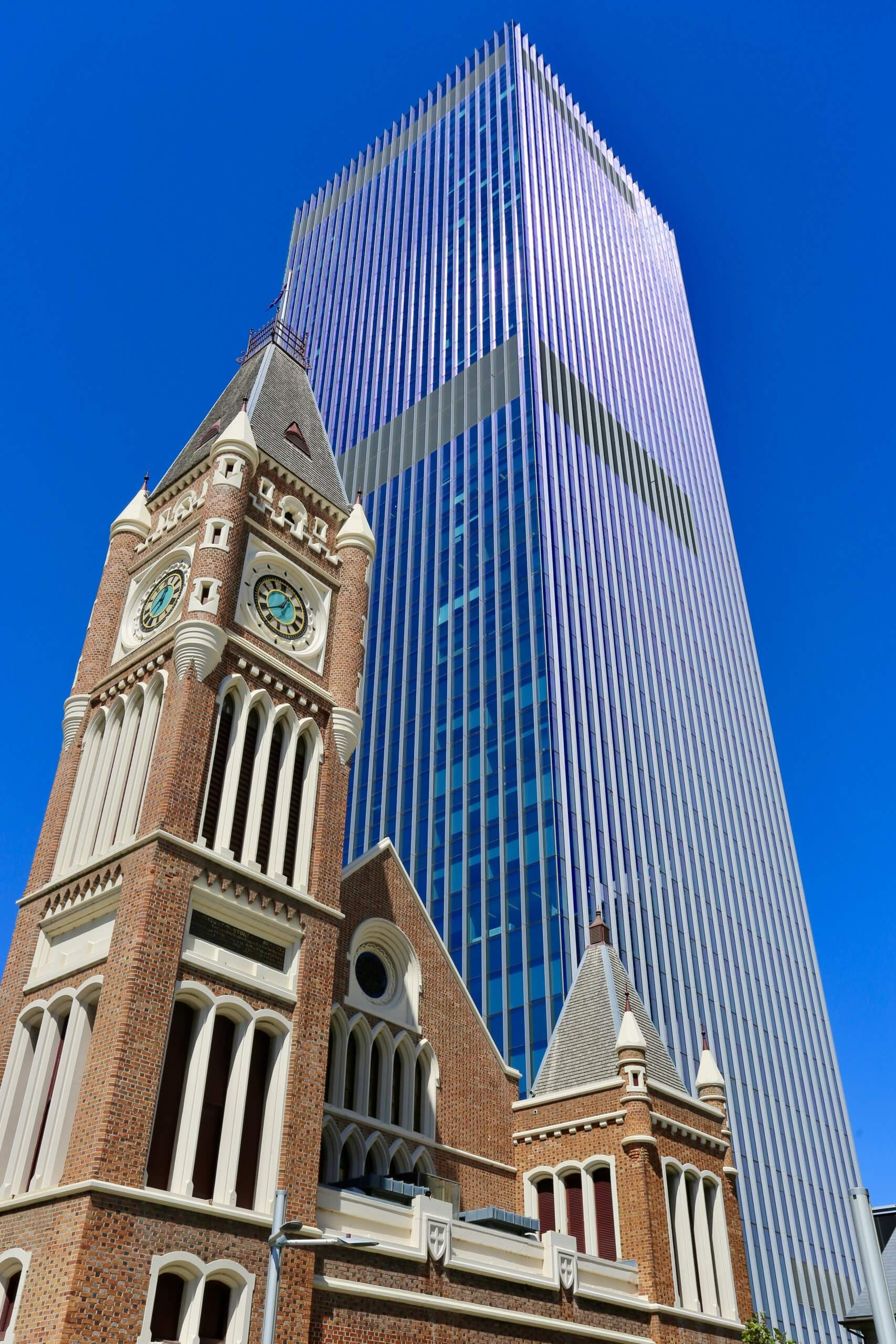 Old and new architecture in downtown Perth.