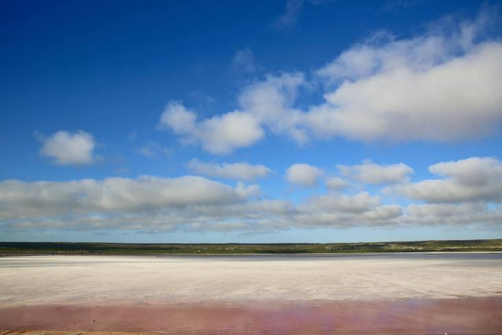 The very colourful Hutt Lagoon Pink Lake.