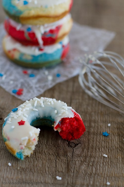 Red, White and Blue Baked Donuts red white and blue dessert