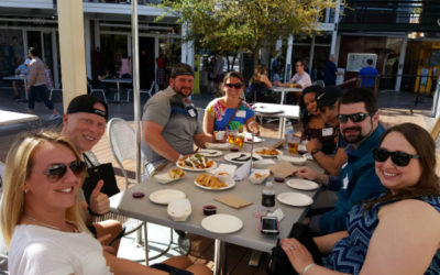 Eating and enjoying the beautiful weather outside at the Container Park on our downtown Las Vegas food tour