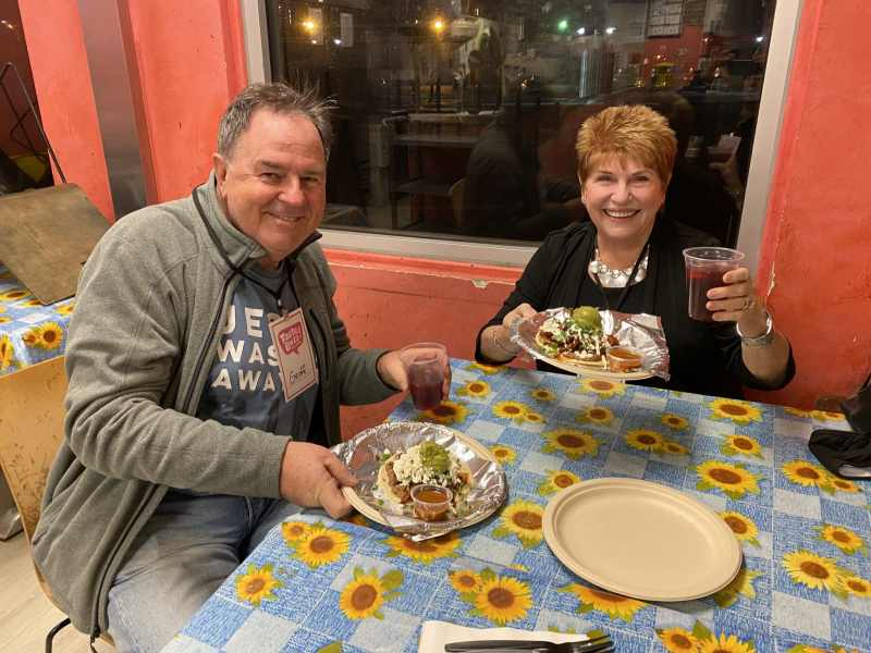Cheers with Agua Fresca and Taco Taste Buzz Vegas Food Tours