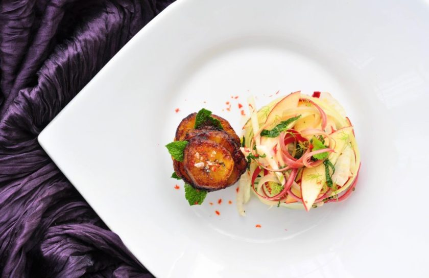 Crispy_plantain_with_fresh_rhubarb_salad_1