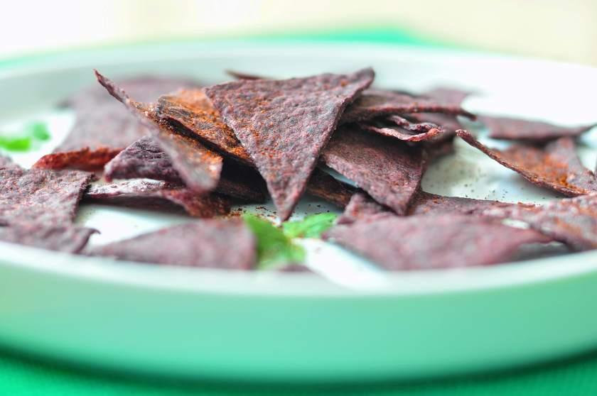Homemade_purple_corn_crisps_with_cheese_dip
