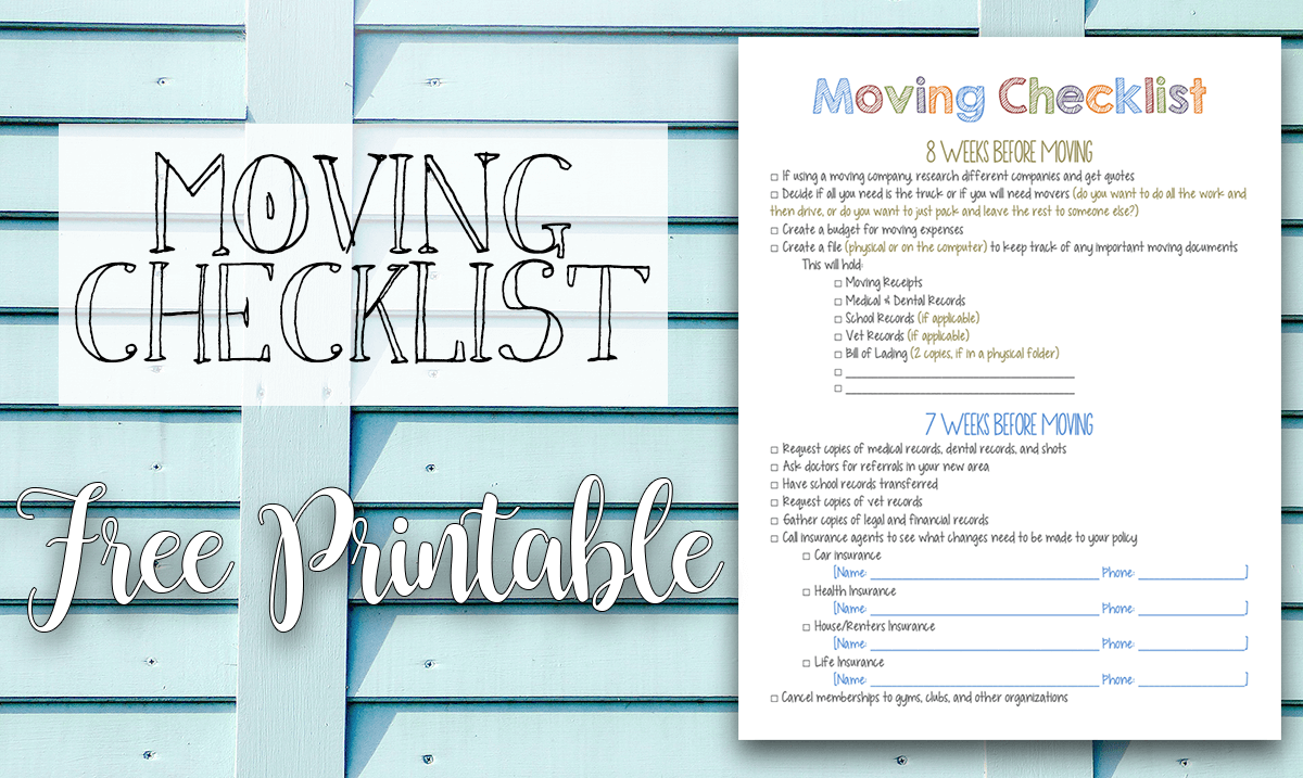 Moving Checklist FREE Printable Tastefully Eclectic