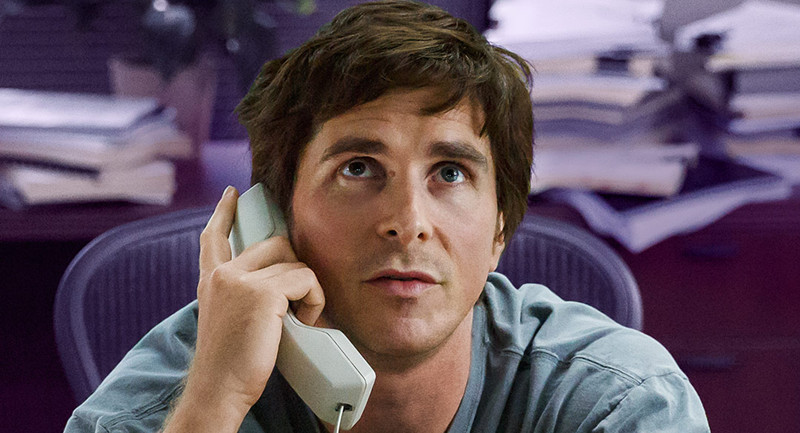 (Christian Bale in The Big Short directed by Adam McKay and written by McKay and Charles Randolph, via tasteofcinema)