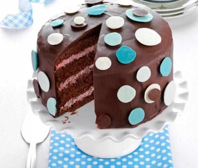 Chocolate Raspberry Polka Dot Cake