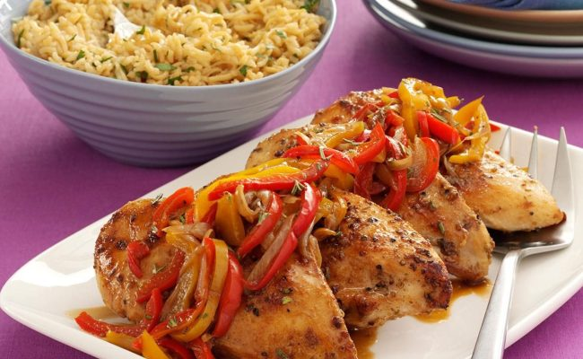 Roast Chicken Breasts With Peppers Recipe Taste Of Home