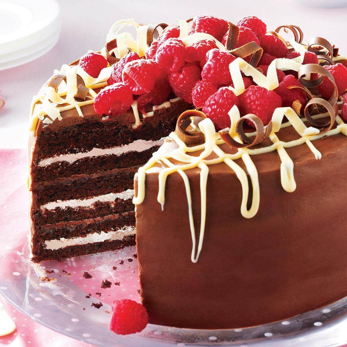 Very Chocolate Torte with Raspberry Cream Recipe  Taste of Home