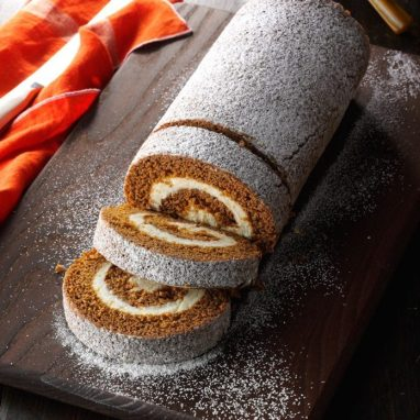 Peachy Gingerbread Cake Roll