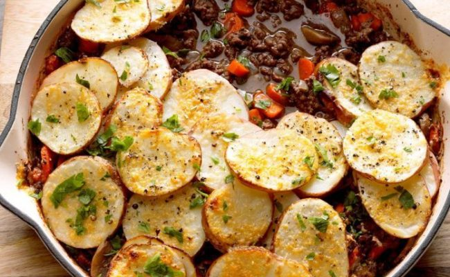 Potato Topped Ground Beef Skillet Recipe Taste Of Home