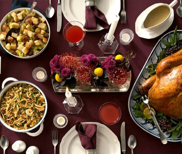 Image Of Traditional Thanksgiving Table With Classic Thanksgiving Dishes