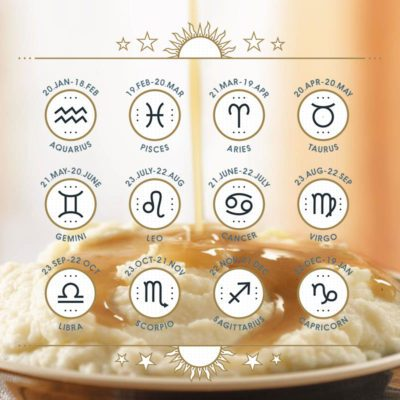 Zodiac icon collection. Sacred symbols set with mashed potatoes in the background