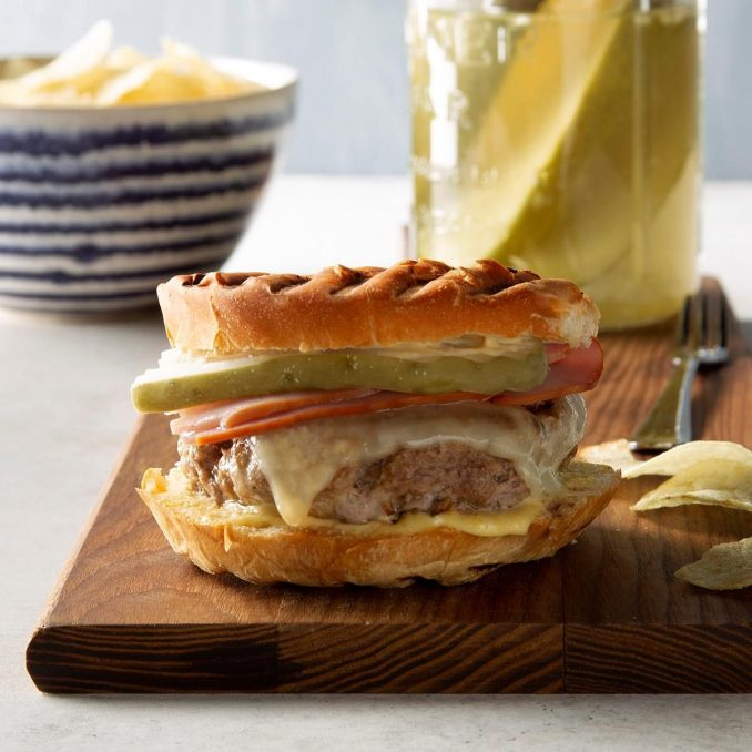 Cuban Sandwich Burgers Recipe | Taste of Home