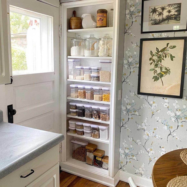 Kitchen with shelves behind the door