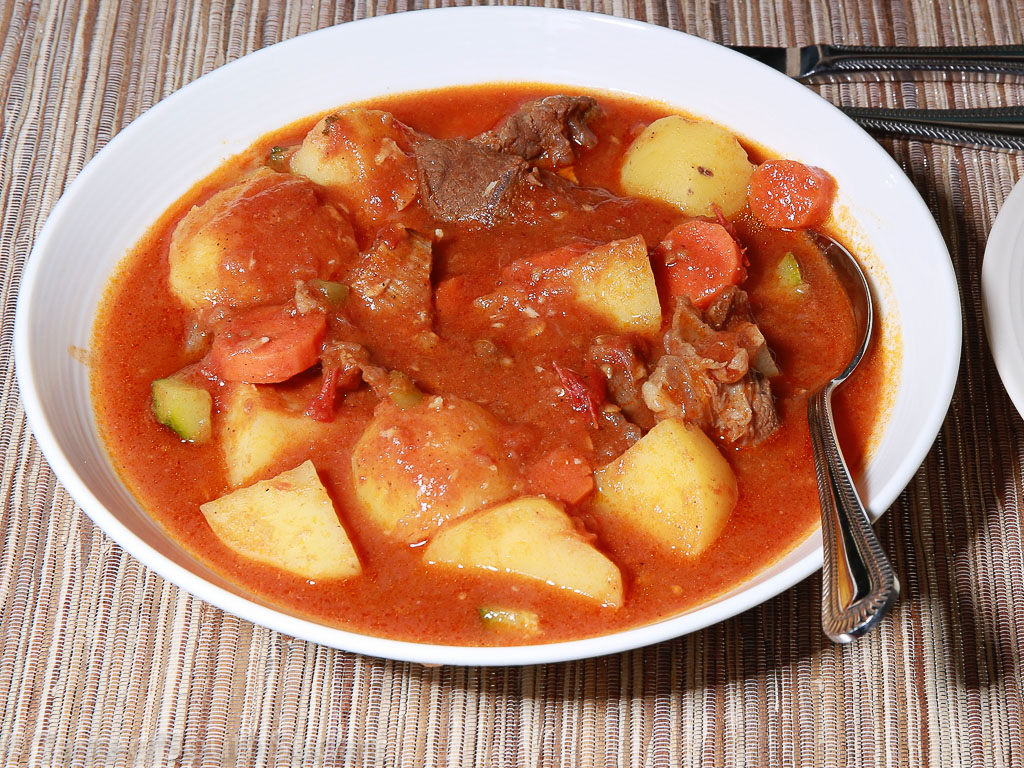 Pictured above is a dish of lamb stew with potatoes and carrots.