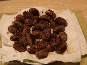 Pictured above are fried kofta meatballs