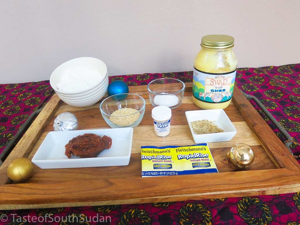 Ingredients for Kahk. Eid Cookies, Christmas Cookies. South Sudan food, South Sudanese cuisine.