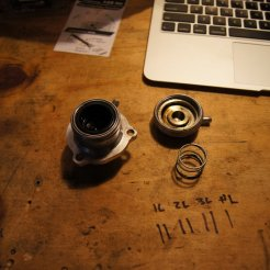 Cap off, Spring out, Piston in