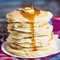 Homemade Pancakes Recipe with syrup and butter