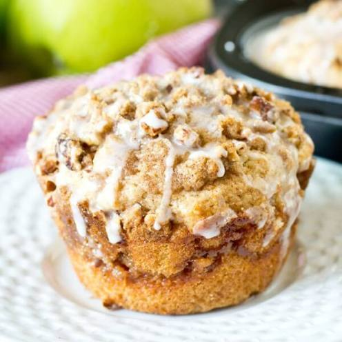 homemade jumbo apple butter muffins recipe with streusel and glaze