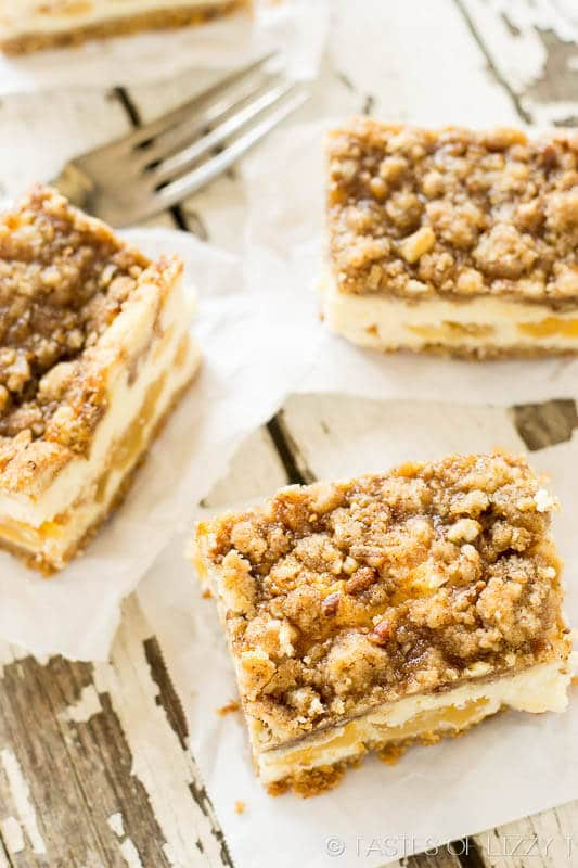 homemade caramel apple bars with a crumbly oat streusel topping