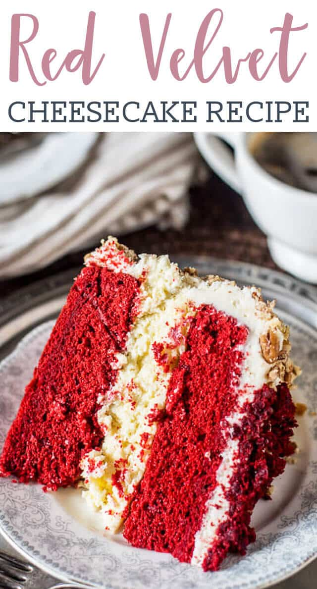 This triple layer red velvet cheesecake starts with a simple boxed cake mix and has a cheesecake layer in the middle. Mouth-watering cream cheese frosting covers the outside.