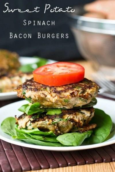 Sweet Potato Spinach Bacon Burgers