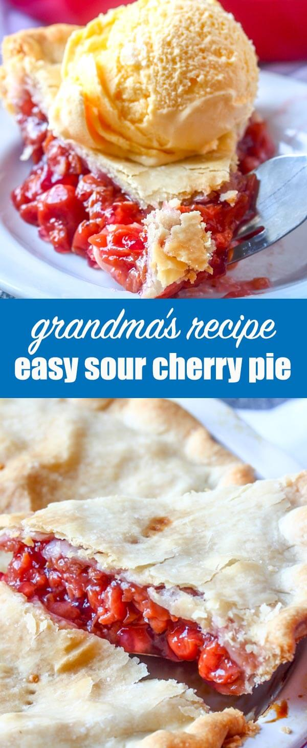 This is my Grandma's Sour Cherry Pie, simply the best cherry pie there is! It's so easy to make with just 4 ingredients. We love eating it with ice cream!