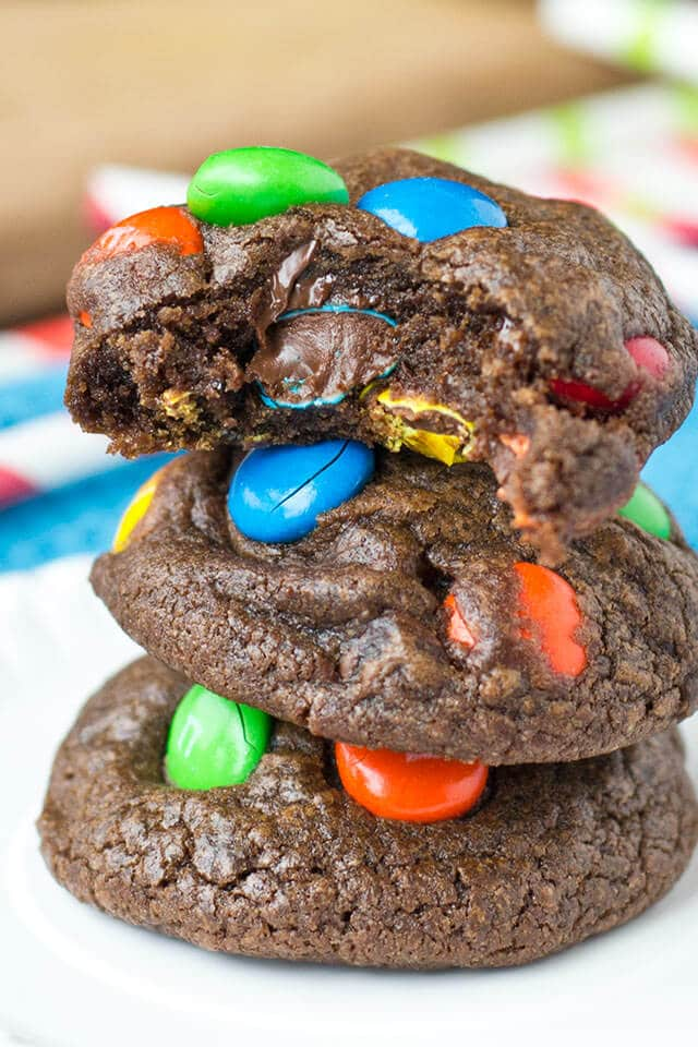 double chocolate cookies with m&m candies
