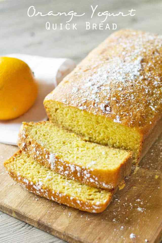 Orange Yogurt Quick Bread {Sweetened with Orange Juice and Honey}