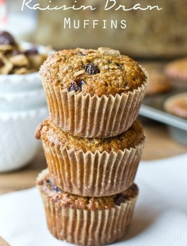 Raisin Bran Muffins are full of whole wheat flour, bran flakes and raisins for a sweet, healthy start to the day.