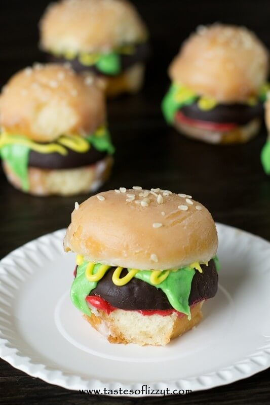 Looking for a cute breakfast idea? Make these mini Donut burgers out of glazed and chocolate covered donut holes.